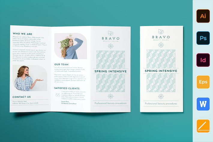 Cover Image For Beauty Salon Brochure Trifold