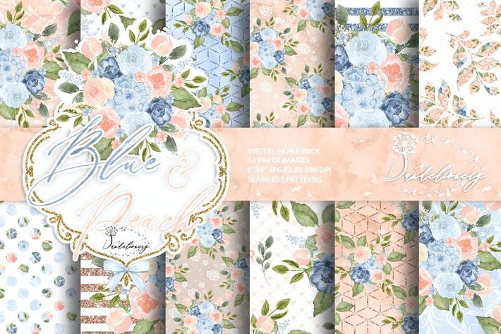 Thumbnail for Watercolor Blue Peach digital paper pack