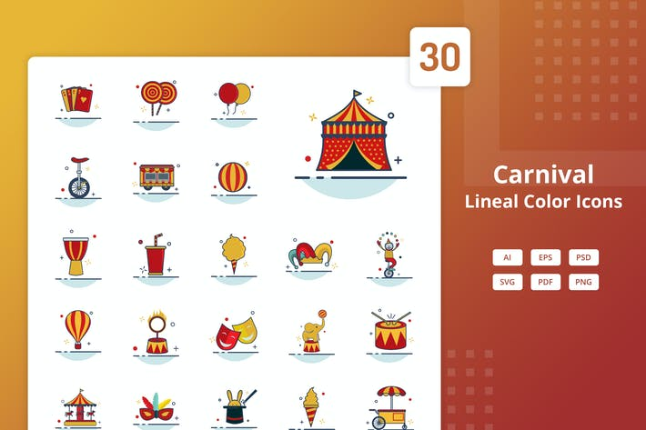 Thumbnail for Carnival - Lineal Color Icons