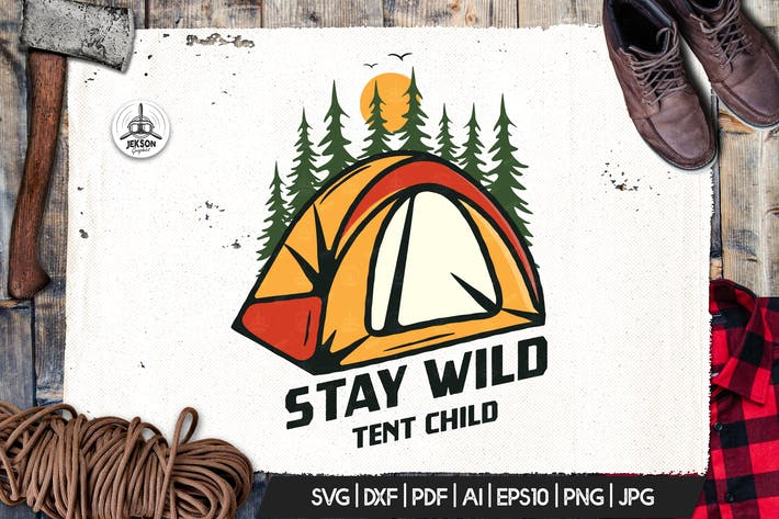 Thumbnail for Camp Vector Patch - Tent Adventure Retro Logo
