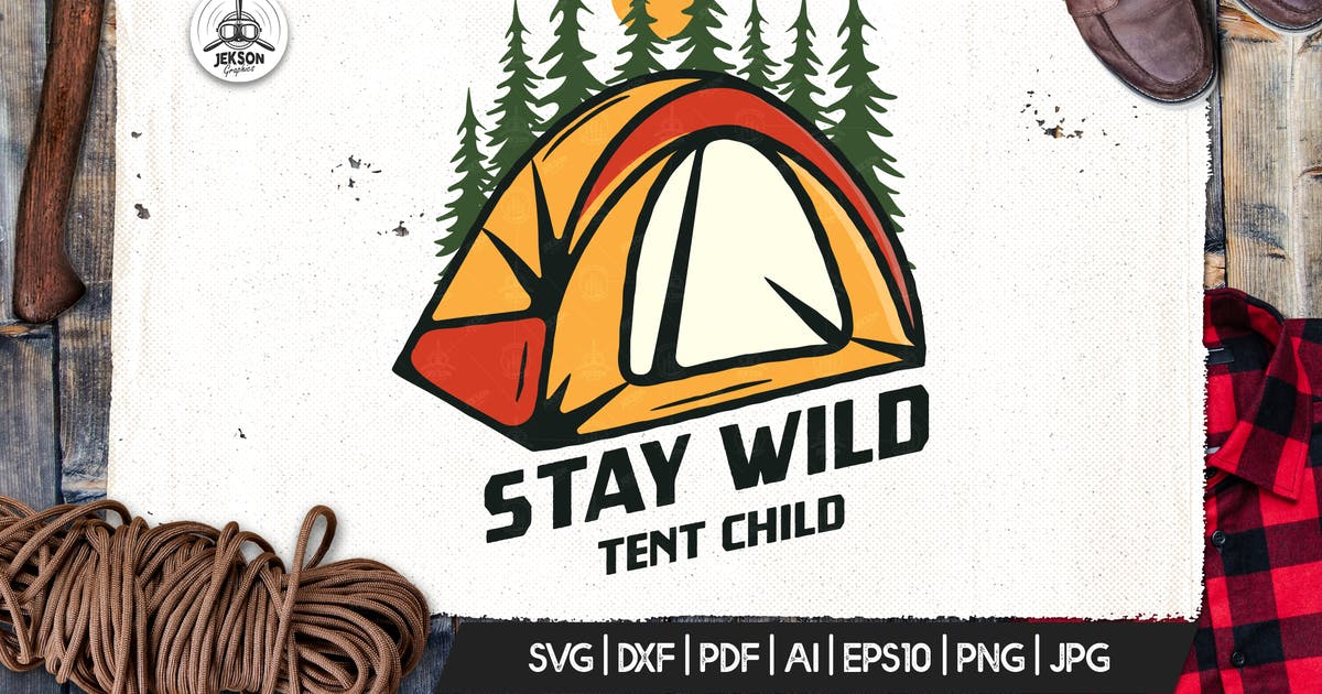 Download Camp Vector Patch - Tent Adventure Retro Logo by JeksonJS