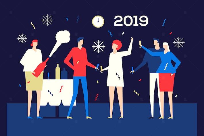 Thumbnail for Happy new year 2019 - flat design illustration
