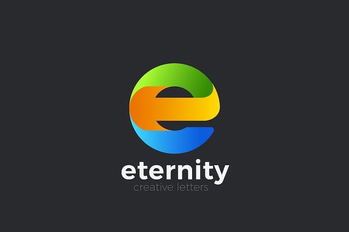 Letter E Logo design Geometric Media style