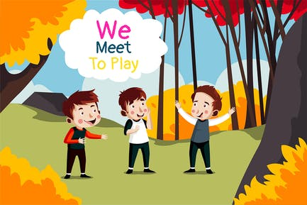 reunirse para jugar - Ilustración
