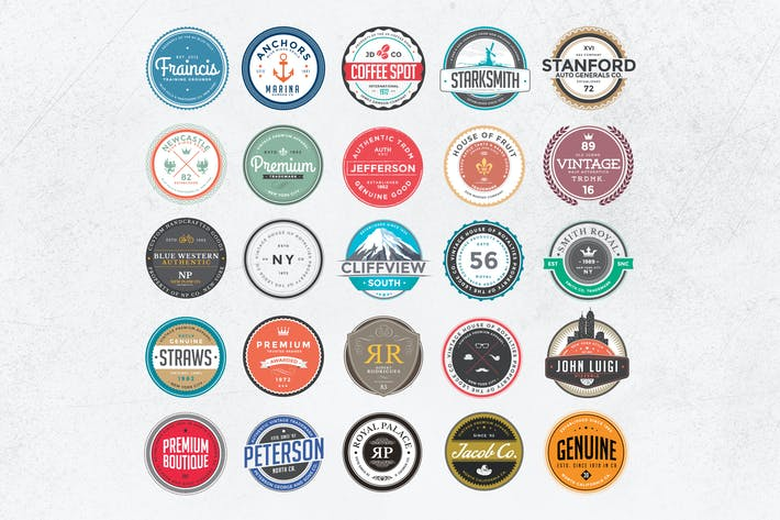 Thumbnail for Retro Colorful Badges and Logos