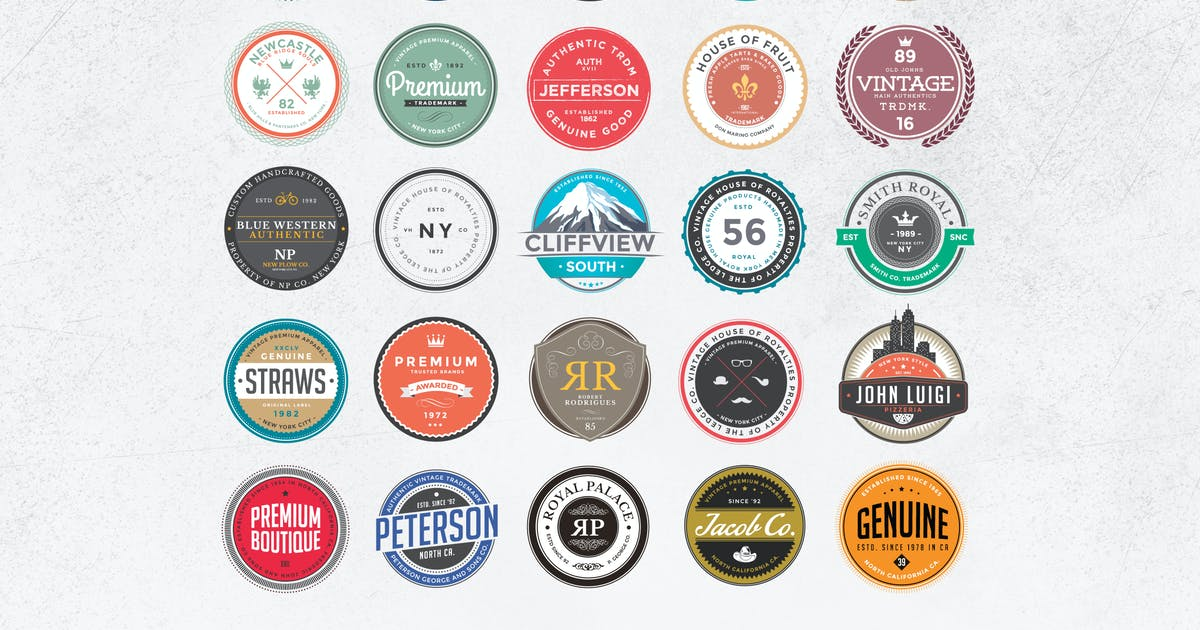 Download Retro Colorful Badges and Logos by Zeppelin_Graphics