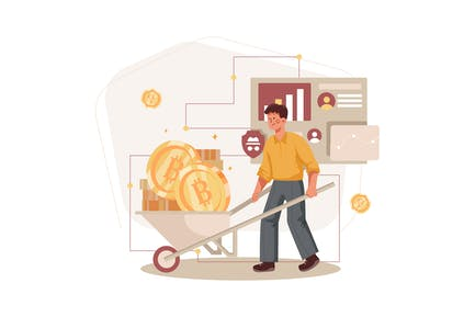 Cryptocurrency Mining Illustration Concept