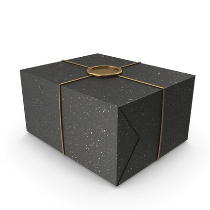 Geschenkverpackung in Schwarz und Gold mit Wachssiegel