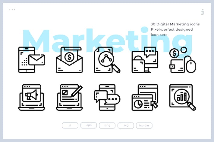 Thumbnail for 30 Digital Marketing Icons