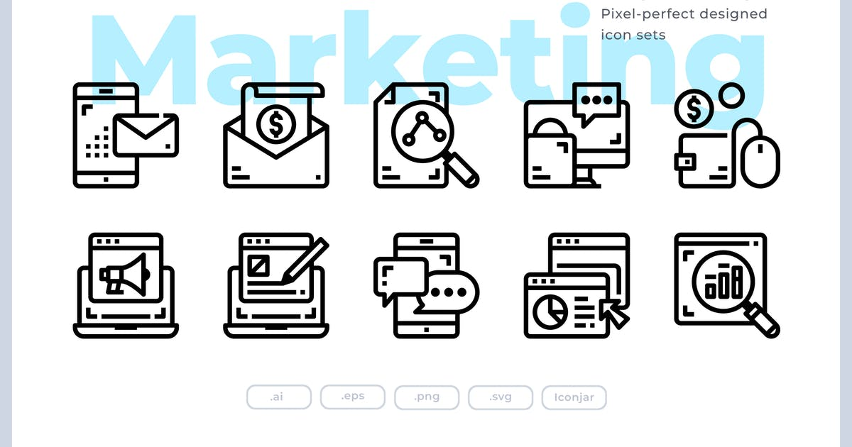 Download 30 Digital Marketing Icons by Justicon