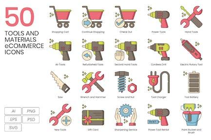 50 Werkzeuge und Materialien E-Commerce-Icons - Hazel Ser