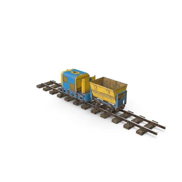 Горный локомотив с Minecart на железнодорожном участке Пыльный