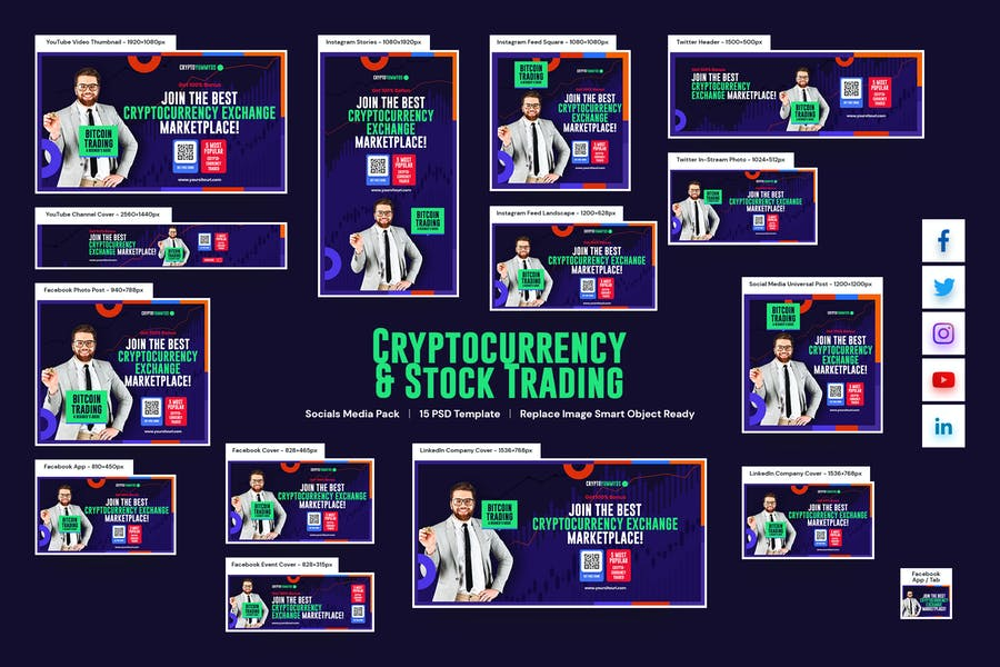 Cryptocurrency and Stock Trading Social Media Pack