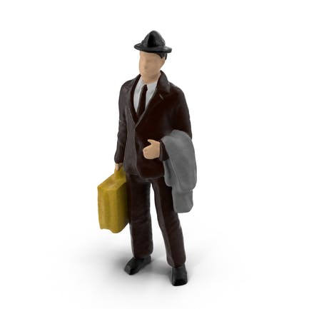 Viajero de juguete en miniatura