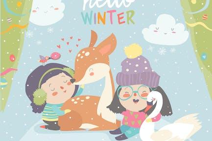 Divertidas niñas de Dibujos animados con ciervos lindo en fores de invierno