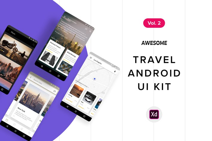 Thumbnail for Android UI Kit - Travel Vol. 2 (Adobe XD)