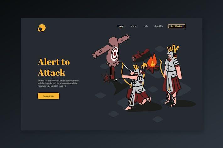 Thumbnail for Alerte à l'attaque - Page d'atterrissage isométrique