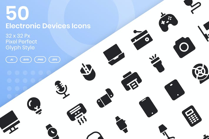 Thumbnail for 50 Electronic Devices Icons Set - Glyph