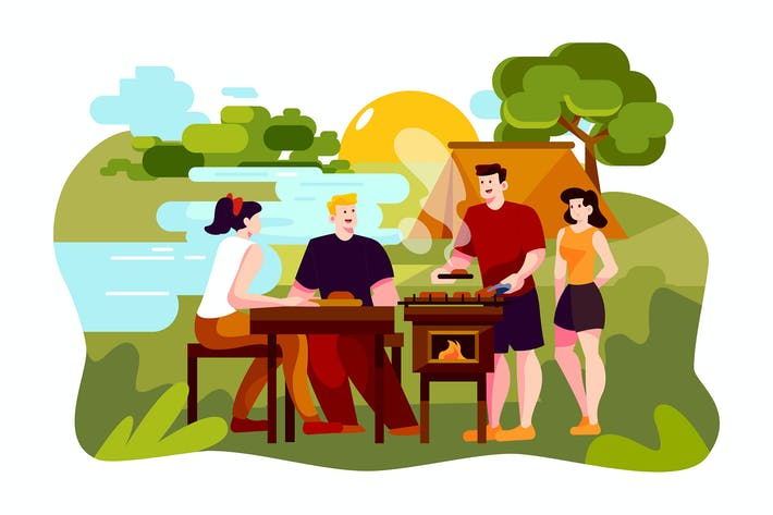 Thumbnail for Enjoy camping picnic and barbecue at lake