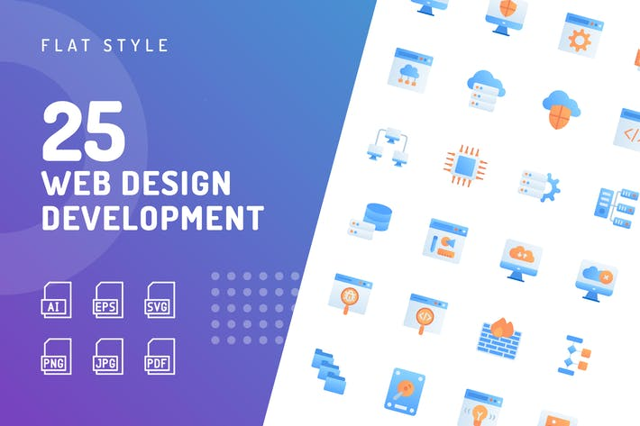 Thumbnail for Web Design Entwicklung Flache Icons