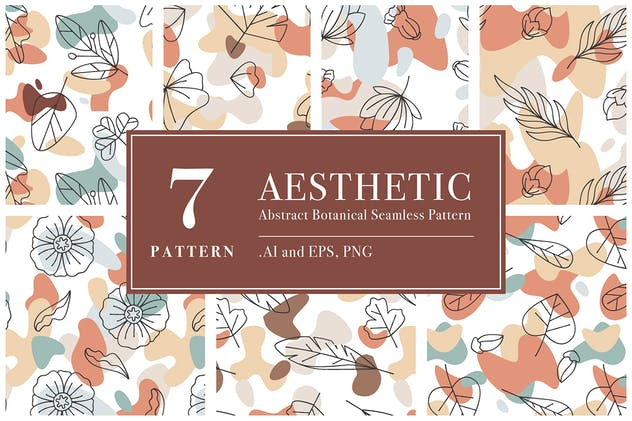 Aesthetic Abstract Botanical Seamless Pattern