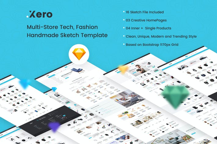 Thumbnail for Xero - Multi-Store Tech, Fashion Sketch Template