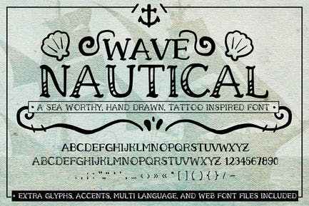 Fuente náutica de onda (Fuentes web de tatuaje manuscritas)