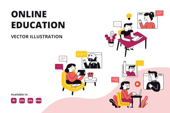 Online-Bildung Doodle Illustration