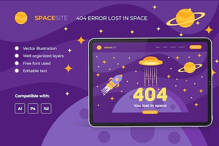 Error 404 page – Space template