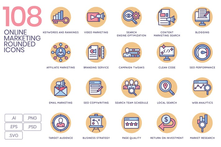 108 Online Marketing Icons - Butterscotch Series