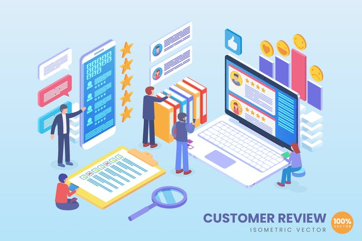 Thumbnail for Isometric Customer Review Vector Concept