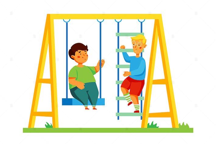 Thumbnail for Children on playground - flat design illustration