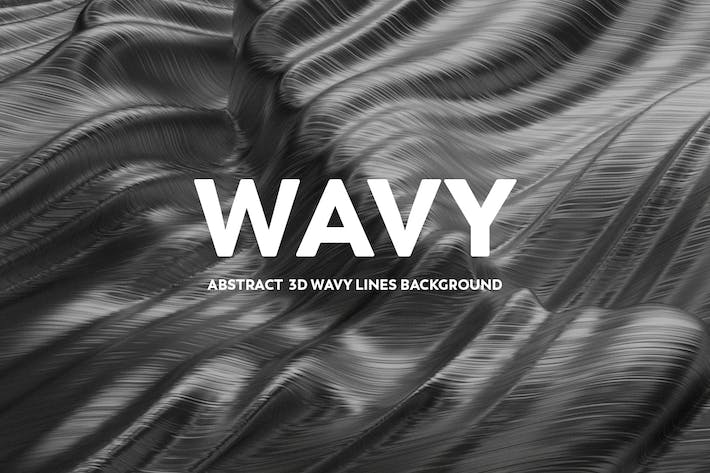 Thumbnail for Abstract 3D wavy Lines Background - Silver Color
