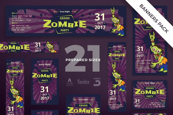 Thumbnail for Halloween Zombie Party Banner Pack Template