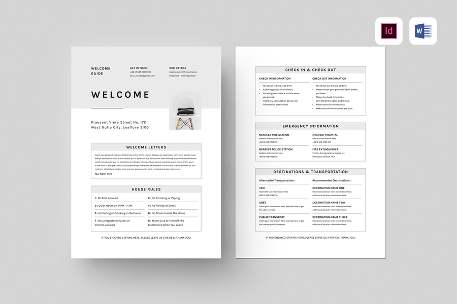 Airbnb Welcome Guide | MS Word & Indesign