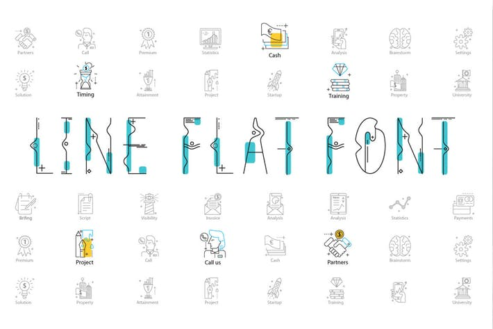 Thumbnail for Line Flat font + line flat icon