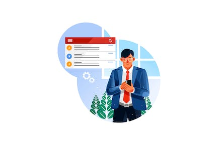Businessman check email on mobile