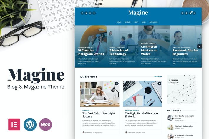 Thumbnail for Magine - Business Blog WordPress Theme