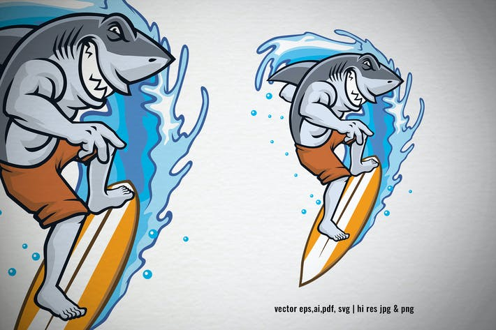 Thumbnail for shark mascot surfing on the beach