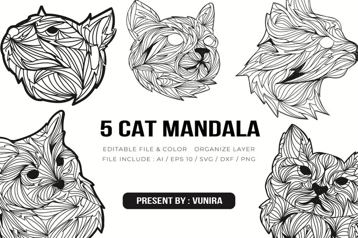5 Cat Mandala | Design Illustration
