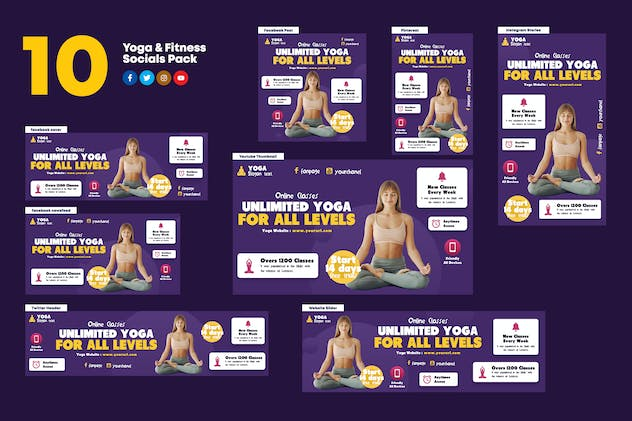 Yoga & Fitness Socials Pack - product preview 0