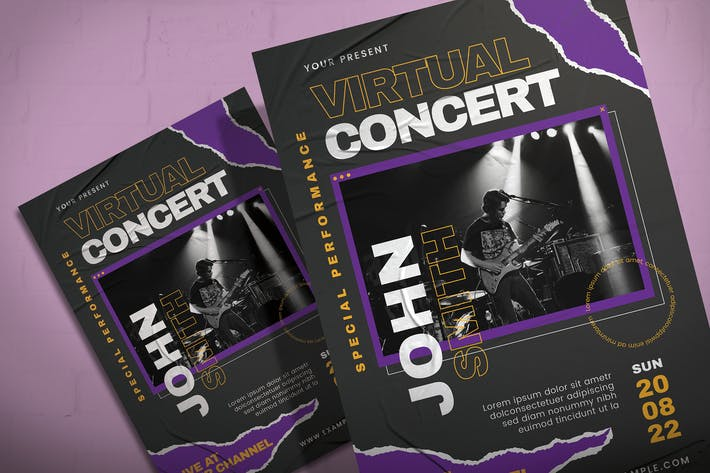 Thumbnail for Virtual Concert - Flyer Template