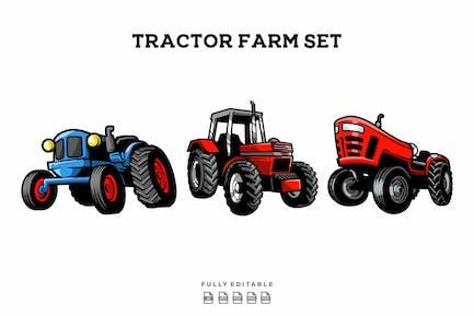 Tractor Farm Illustration Set