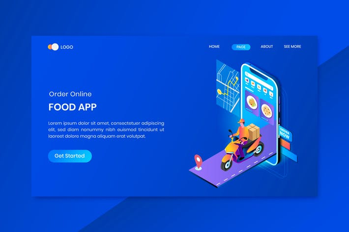 Thumbnail for App Delivery Services Isometrische Konzept-Landung