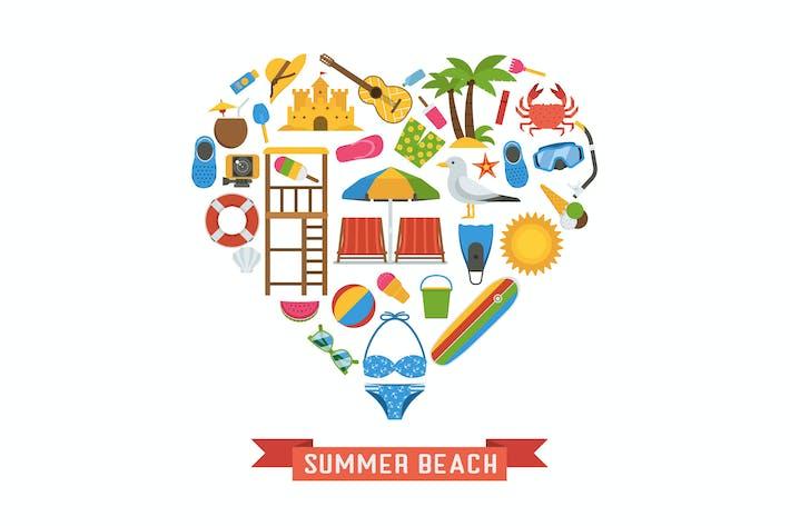 Thumbnail for Love Summer Icons im Herzdruck stilisiert