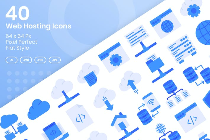 Thumbnail for 40 Web Hosting Icons Set - Flat