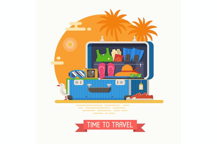 Summer Travel Suitcase Full of Clothes