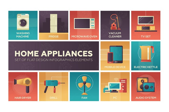 Thumbnail for Home Appliances -flat design icons set