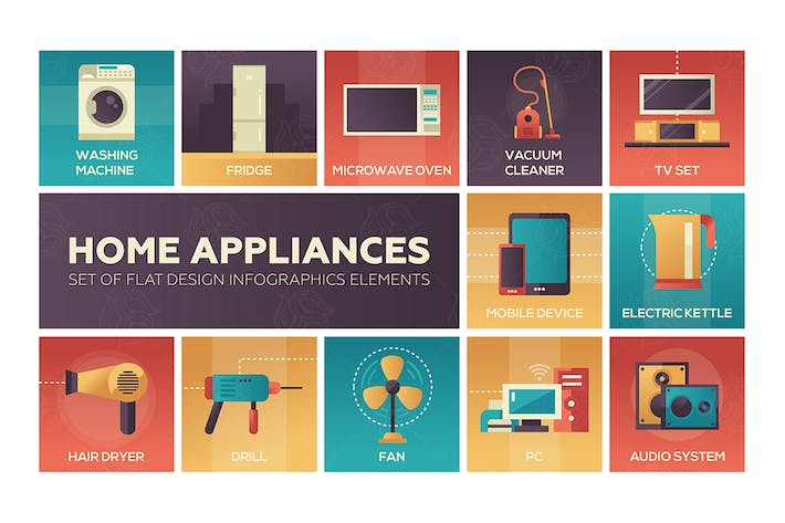 Home Appliances -flat design icons set