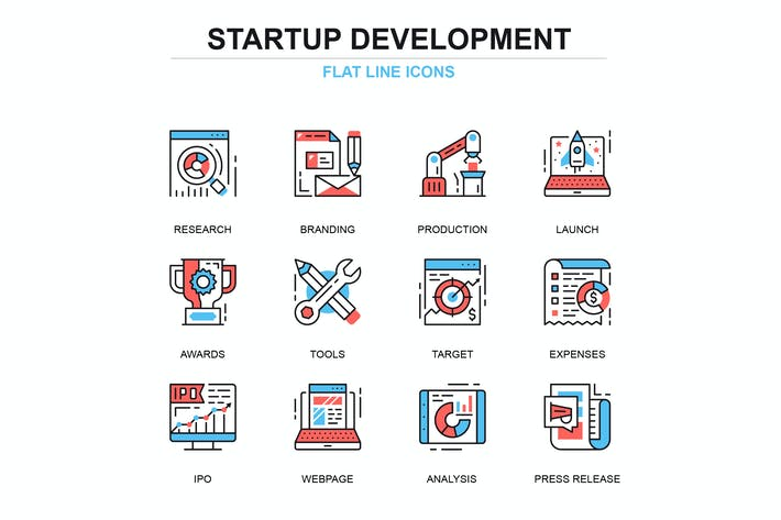 Cover Image For Thin line startup your project icons set